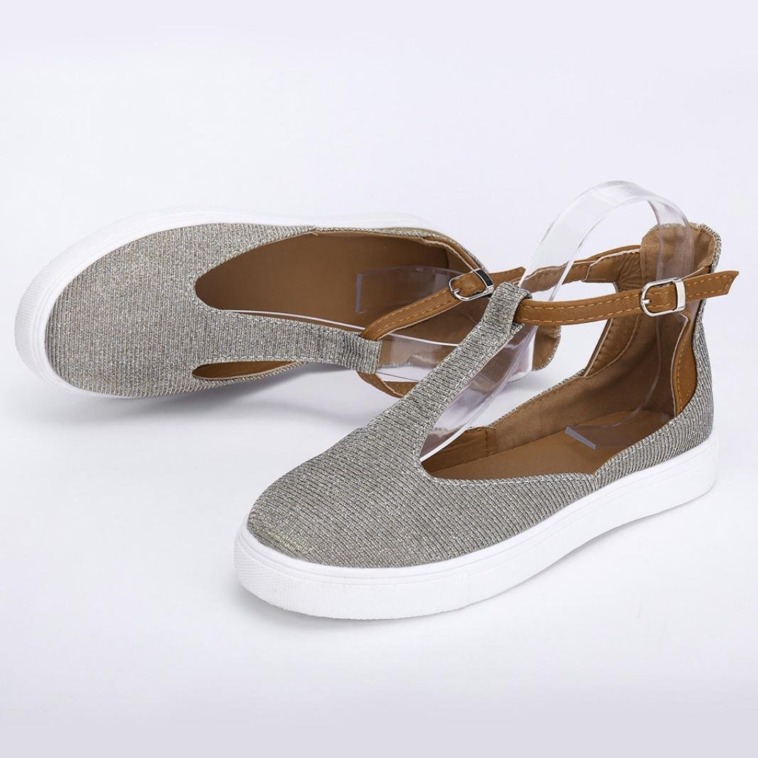Women Buckle Shoes ❧ Vanvler { Ladies Casual Shoes } Vintage Platform Flats Plus Size Vanvler-Sandals