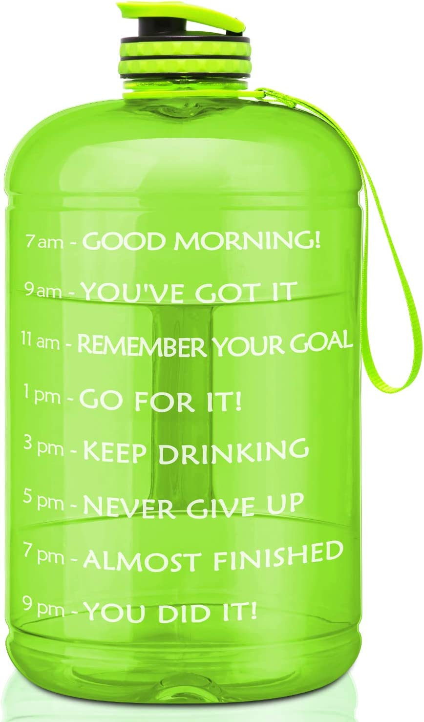 Large Sports Water Bottle 1 Gallon Exercise Gym Camp Hydration with Time marker