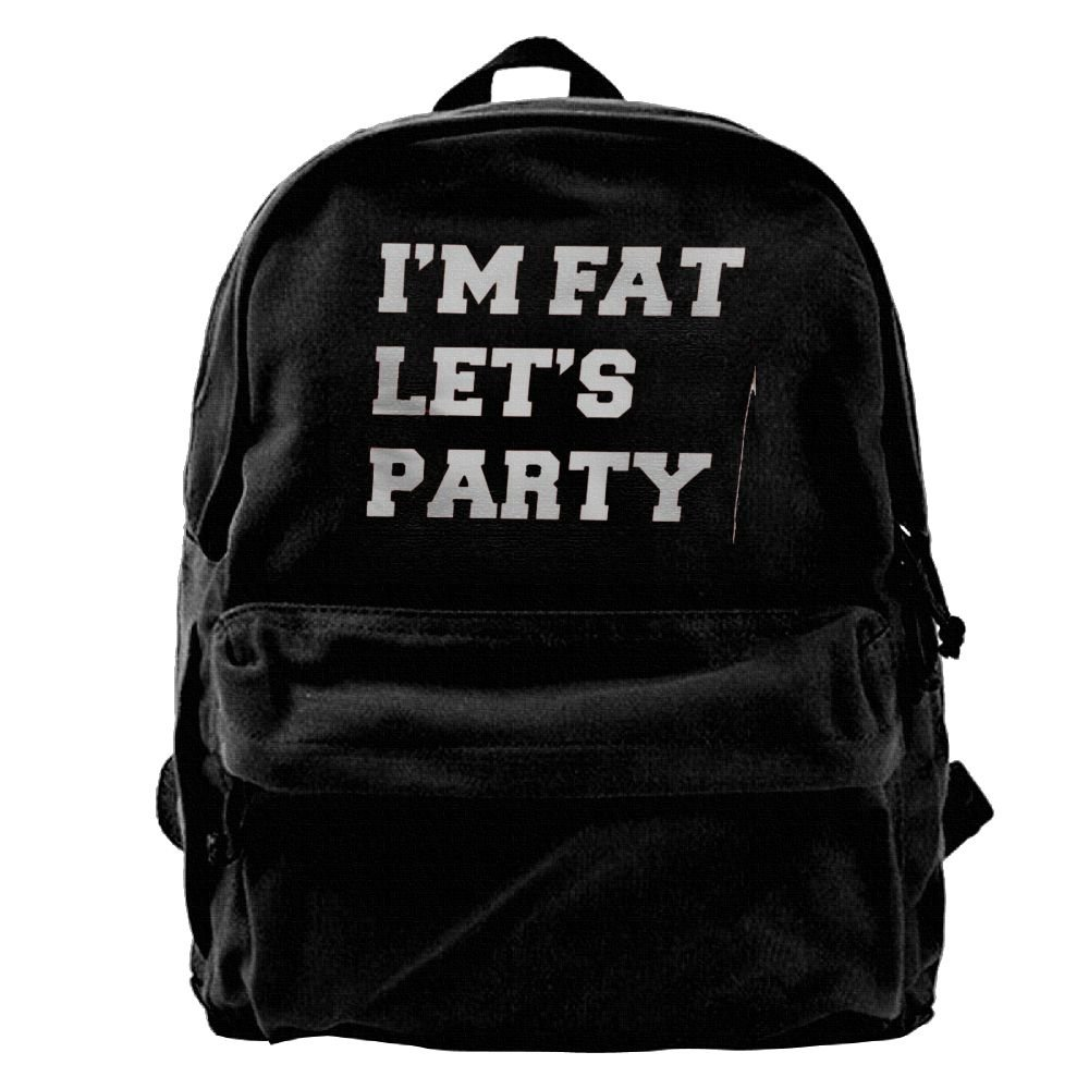 a27ecef335 outlet Xsmkswqsqw I m Fat Let s Party Baby Canvas Backpack Rucksack Unisex  For School Travel