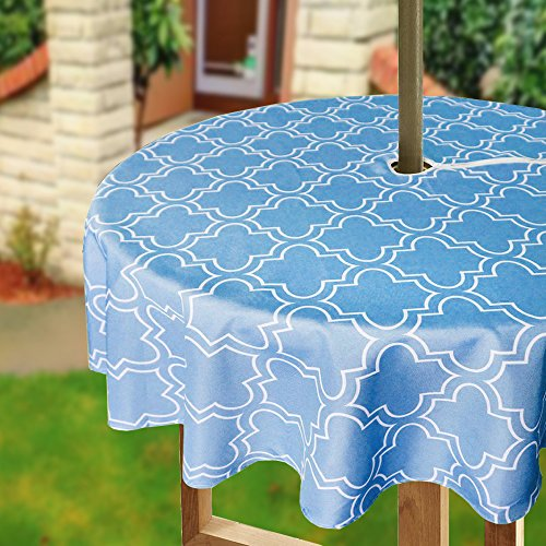 Eforcurtain Geometric Floral Print Umbrella Tablecloths with Zipper for Outdoor Use for Round Tables Tables Durable Waterproof Fabric Table Cover, 60 Inch, Blue and White