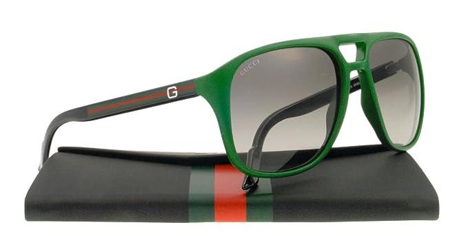 2092388e324 Amazon.com  Gucci Square Aviator Green Sunglasses GG 1018 S KR5 57EU ...