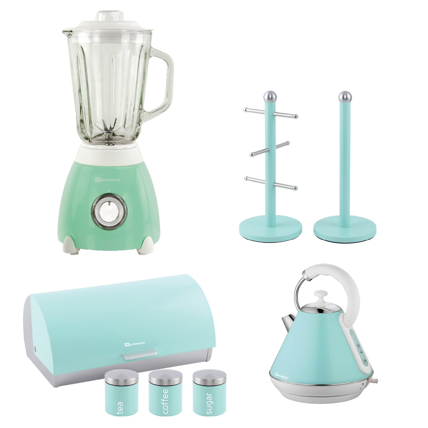 1.8L Matching Kitchen Appliances Set Electric Kettle cord Toaster Blender Green
