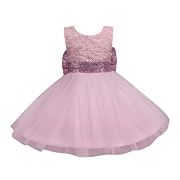 46f547cc1f Amazon.com  Feitong Flower Girl Princess Sequins Dress Toddler Baby ...