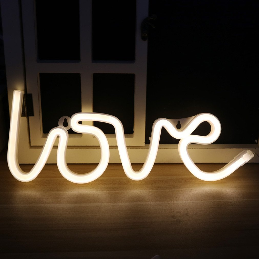 AIZESI Love Led Sign,Neon Lamps,Marquee Battery USB Operated Table Led Ligths Wall Decoration Girls Bedroom,Living Room, Christmas,Party as Kids Gift (Warm White Love)
