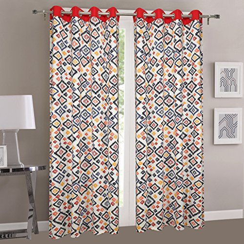 Dekor World Multi Red Cotton Eyelet Curtain -110x225cm  Door