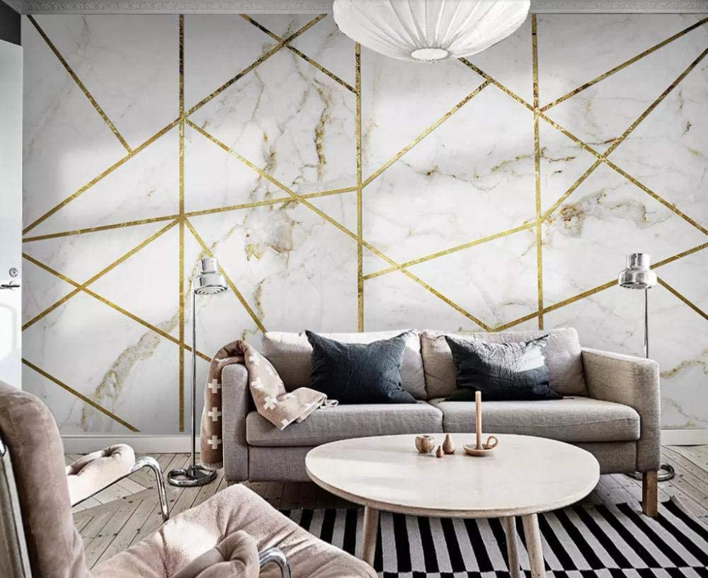 Wallpaper 3D Simple White Marbled Gold Lines Modern Living