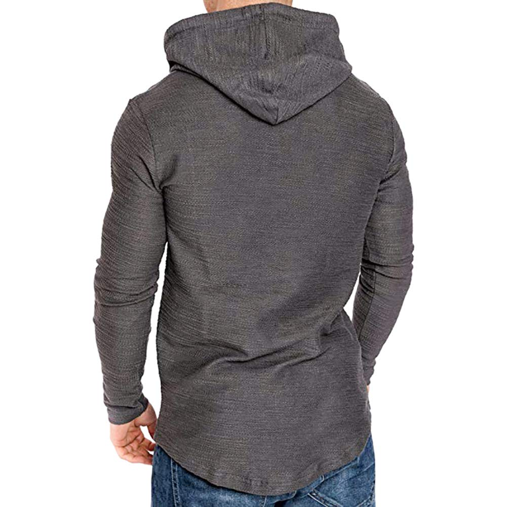 Mens Long Sleeve Hooded Cotton T-Shirt Solid Color Hipster Hip Hop Pullover Hoodie Sweatshirt Lightweight