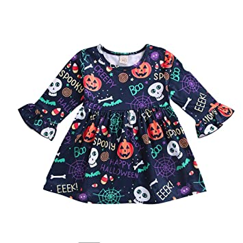 604095d9f6 Toddler Baby Girls Dress,Princess Pumpkin Flare Sleeve Cartoon Print Dress  Halloween Clothes (2
