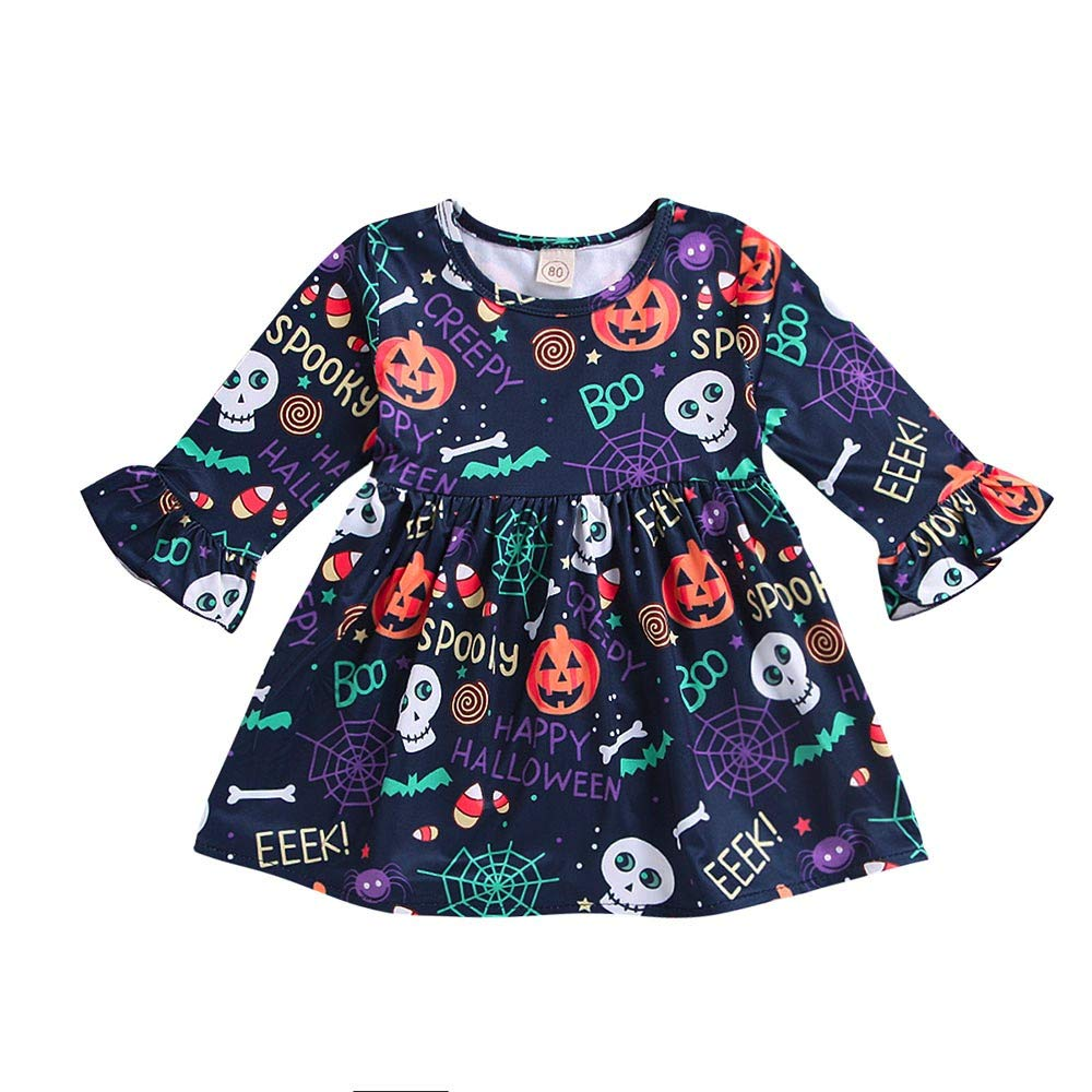 ALIKEEY Manica Svasata Zucca Abito Stampa Floreale Vestiti Bambina Per Bambino Abito Per Halloween