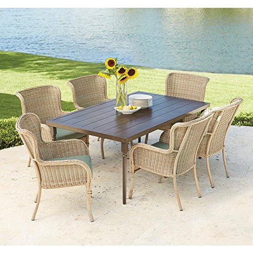 Lemon Grove 7-Piece Wicker Outdoor Dining Set with Surplus Cushion (Hampton Bay Outdoor Furniture Umbrella)