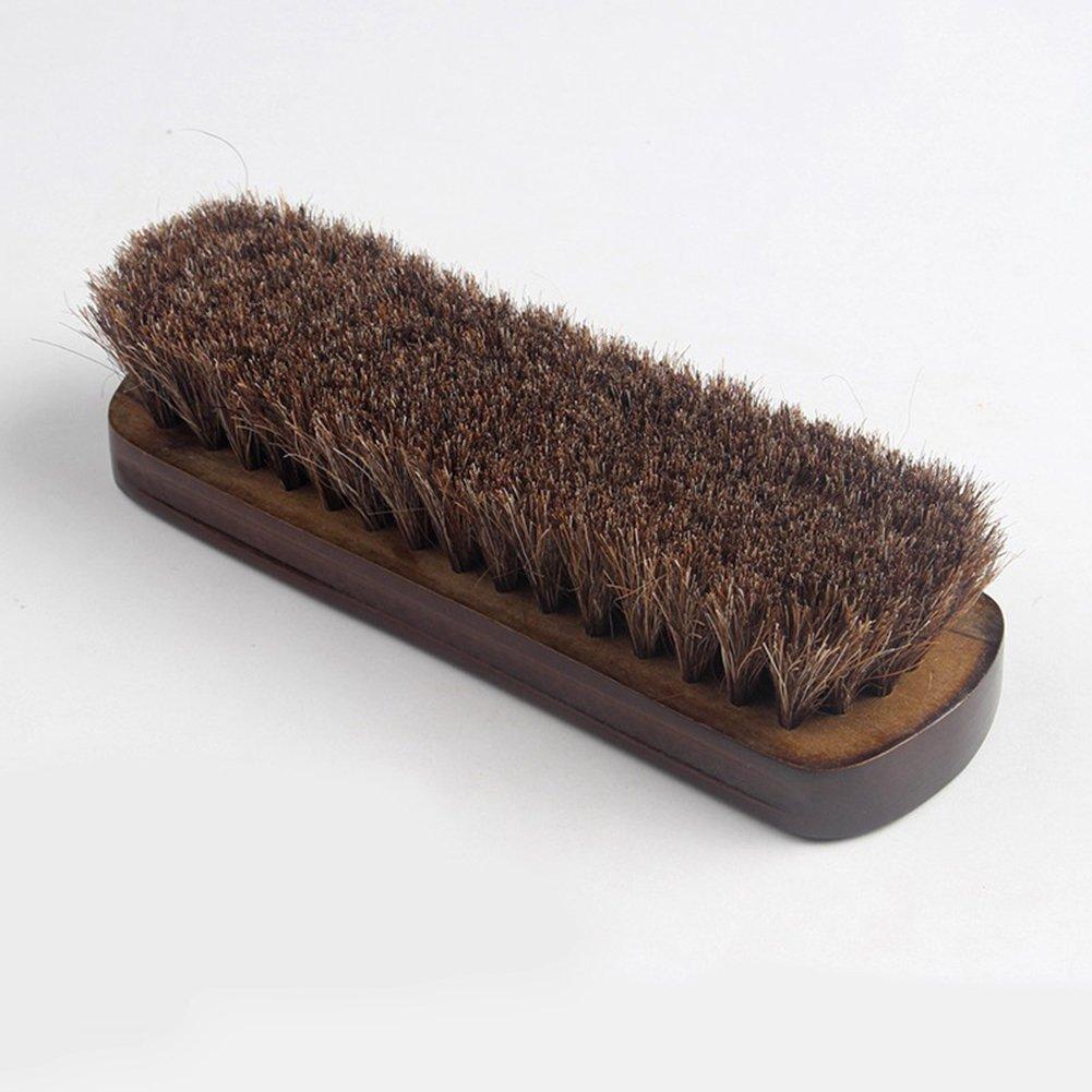 Milopon Brosse /à Chaussures en Bois CRIN De Cheval Brosse /À Reluire pour Nettoyer Chaussures Bottes 15cm 2pcs