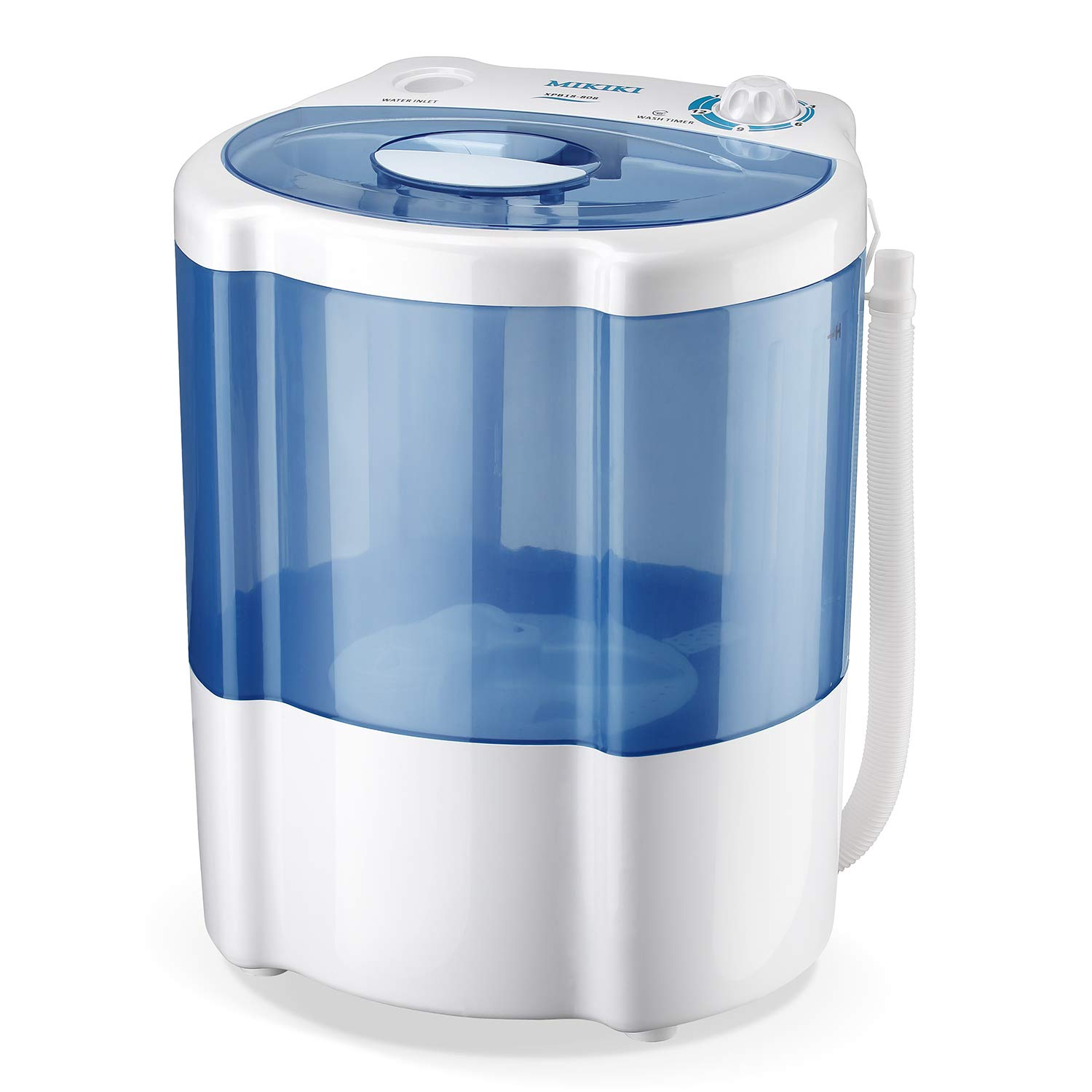 MIKIKI Portable Full-Automatic Washing Machine, 1.8 Cu.ft Laundry Washer Spin Washer, Fast Wash, Rinse, Spin and Drain