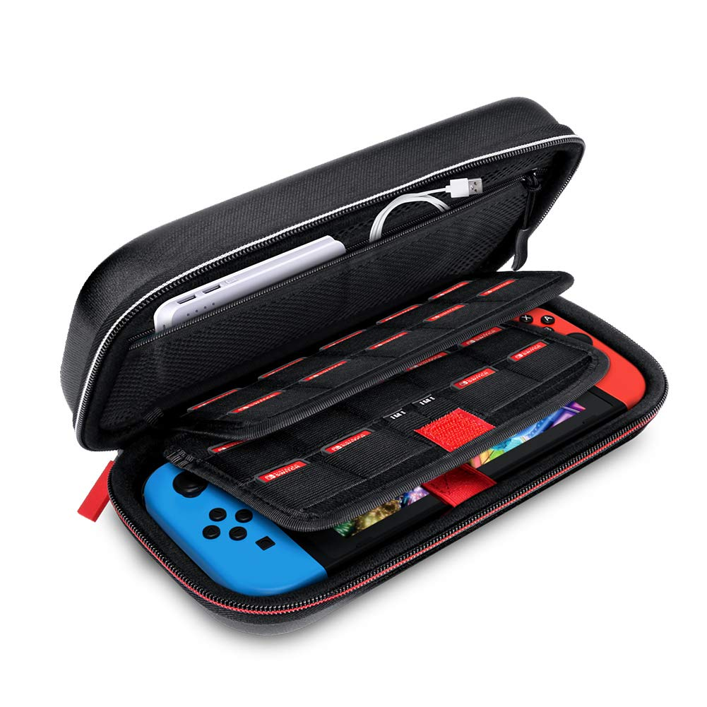 IKITS Deluxe Carrying Case Compatible for Nintendo Switch and Accessories, Portable Travel Carry Case Protective Shell Bag for Switch Console-Black