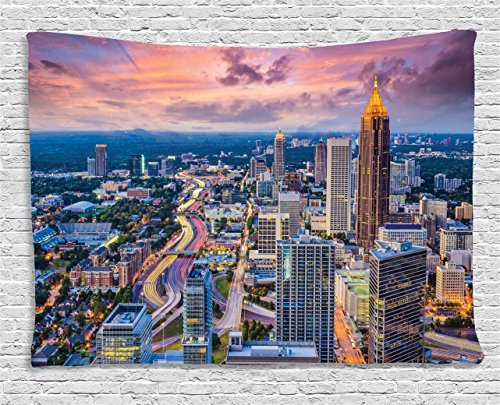 Modern Tapestry, Atlanta City Skyline at Sunset with Hazy Light Georgia Town American View, Wall Hanging for Bedroom Living Room Dorm, 60 W X 40 L Inches, Baby Pink Blue Silver