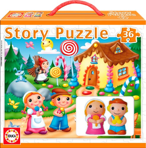 Educa - Puzzles-Jigsaw Puzzle - 36 Pieces - With 2 Figurines - Story Puzzle : Hansel And Gretel