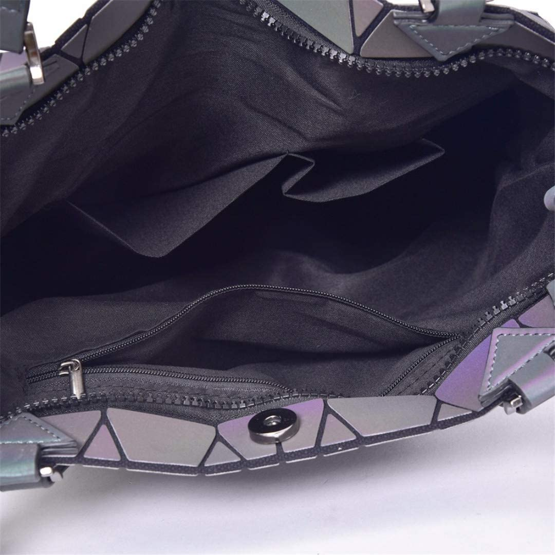Luminous Bag Women Geometric Folding Plain Casual Tote Quilted Shoulder Bags Hologram Large Capacity