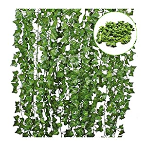12 Pack 84 Ft Artificial Ivy Leaf Flowers Greenery Garland Plants Hanging Vine Garland Fake Leaf Foliage for Kitchen Party Garden Office Wedding Wall Home Decor 72
