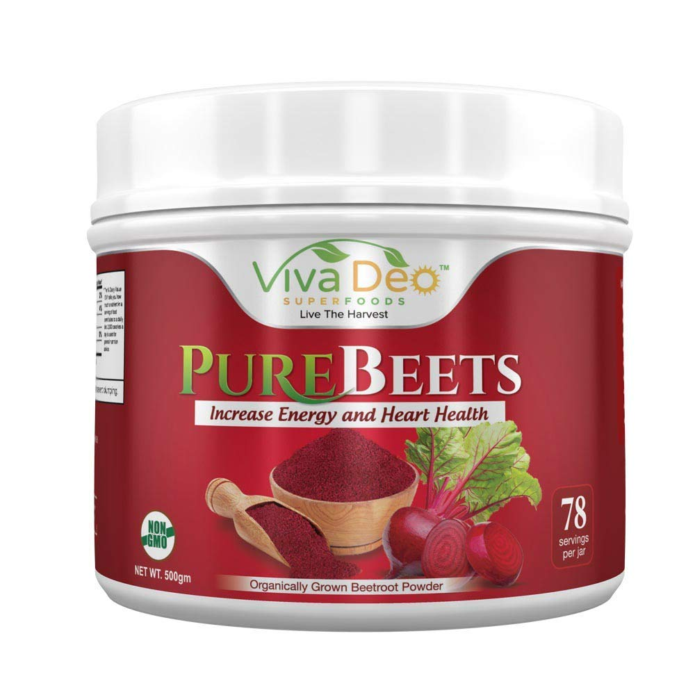 PureBeets   100% Organic Pure Beet Root Powder   Best Value Beetroot Nitric Oxide Supplement   Beets Support Faster Recovery & Total Body Health - Viva Deo (17.5 oz, 78 Servings) by Viva Deo