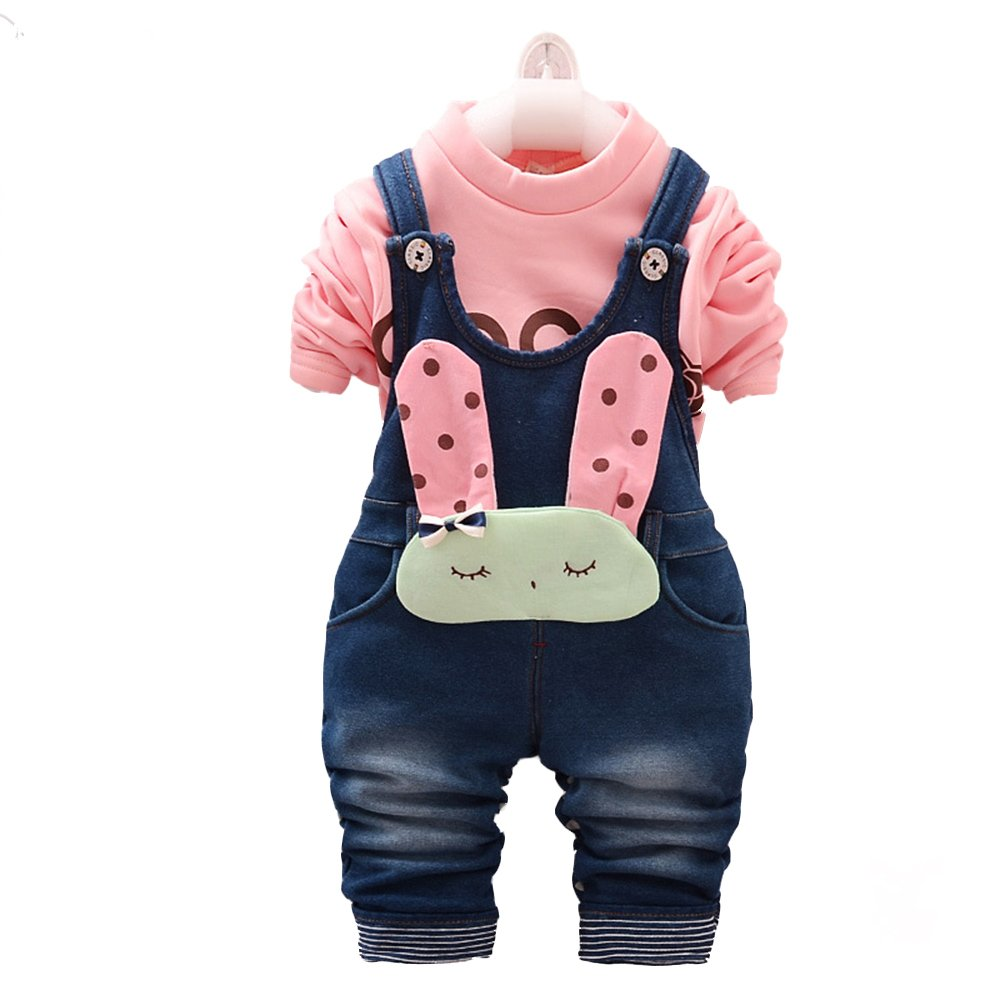 Kidscool Little Girls Frozen Soft Denim Fleece Overalls Sets Pink/White