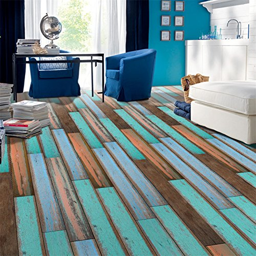 Cheap  VanBest 3D Self-adhesive Flooring Stickers Simulation Wood Decals PVC Kitchen Bedroom Living..