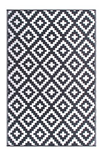 Recycled Outdoor Rugs - FH Home Indoor/Outdoor Recycled Plastic Floor Mat/Rug - Reversible - Weather & UV Resistant - Aztec - Gray/White (6 ft x 9 ft)