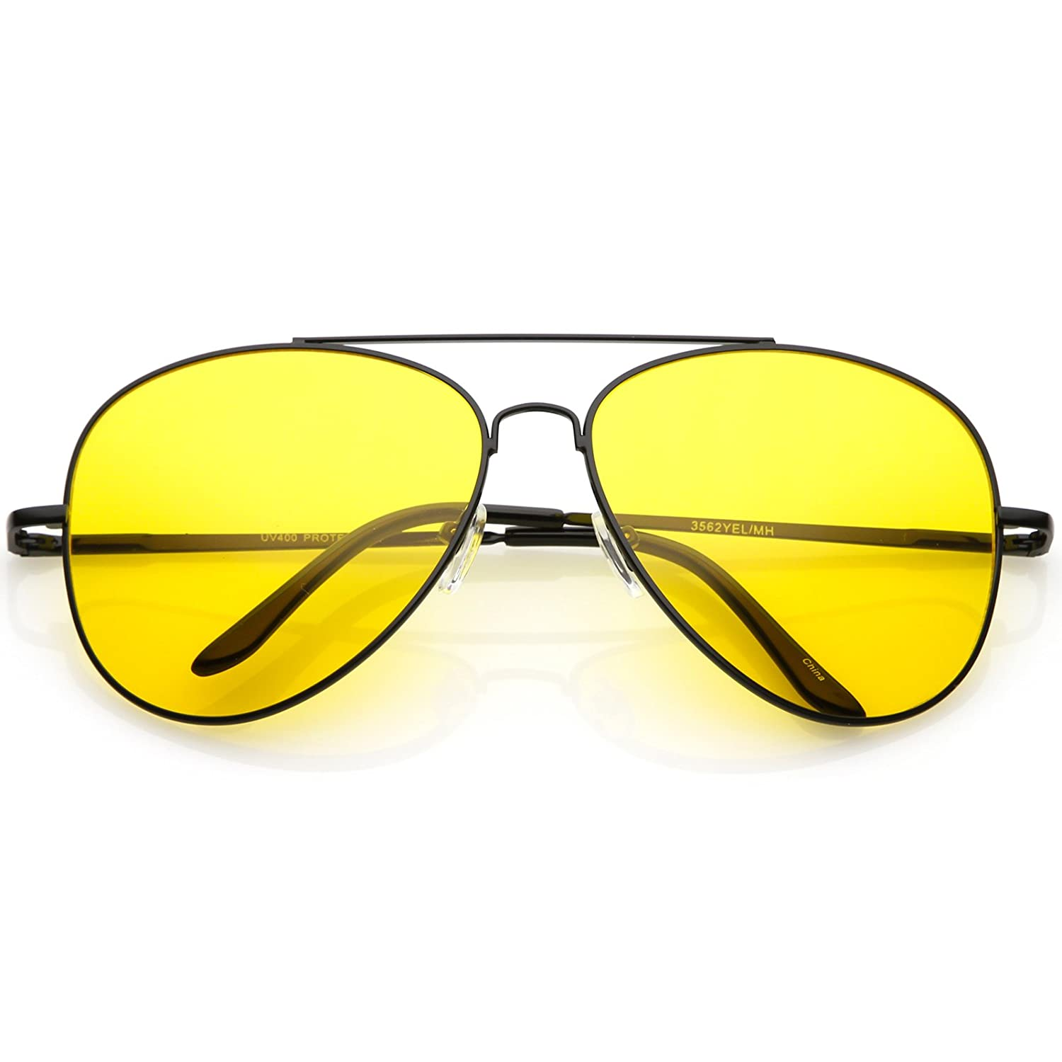 601ac0f228 Amazon.com  sunglassLA - Large Aviator Night Driving Glasses for Men Women  with Yellow Tinted Lens 61mm (Black Yellow)  Clothing