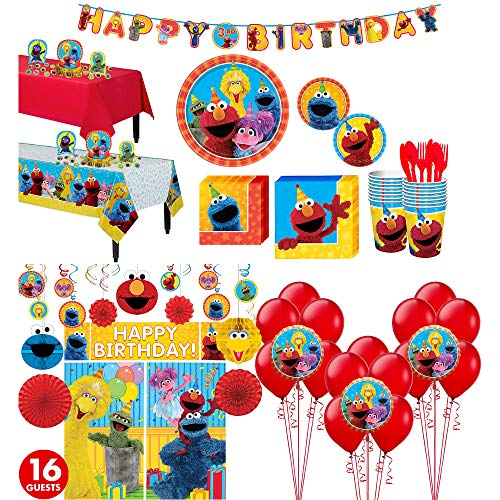 Party City Sesame Street Tableware Ultimate Kit and Supplies for 16 Guests, Includes Table Covers, Photo Props, Balloons