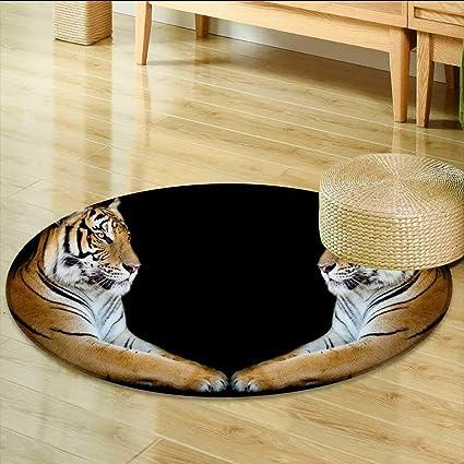 Animal Tiger Face Round Yoga Carpet Bedroom Floor Nonslip Area Rug Kid Play Mat
