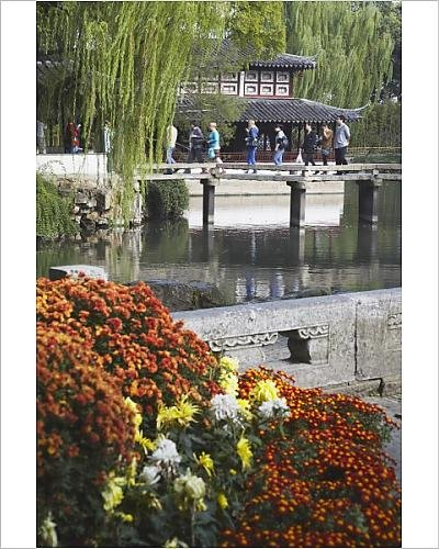 Photographic Print of People crossing footbridge in Humble Administrator s Garden, UNESCO (Administrators Garden)