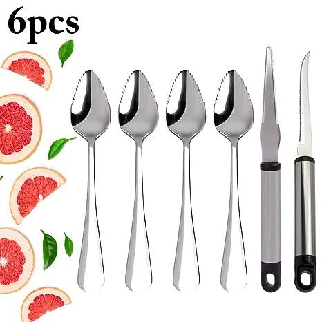 Amazon.com: JUSTDOLIFE Cucharas de pomelo para postre de ...