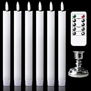 GenSwin Flameless Taper Candles with Remote Timer, Battery Operated Flickering Real Wax LED Window Candles with Removable Silver Candle Holders for Wedding/Party/Birthday Decor(Pack of 6, White)