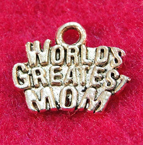 10Pcs. Tibetan Silver ''World's Greatest MOM'' Charms Pendants Drops Finding WS50 Crafting Key Chain Bracelet Necklace Jewelry Accessories Pendants