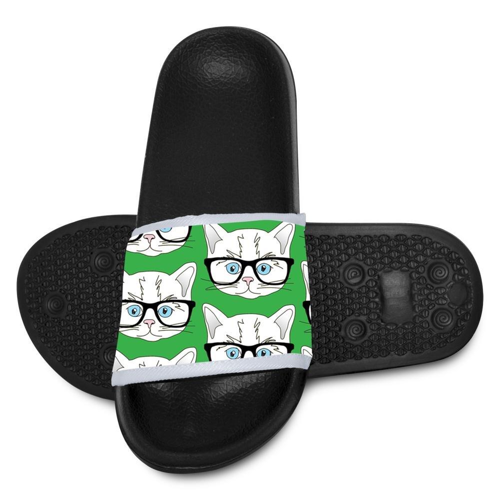 EPENG Kitten Glasses Cat Kids Soft Casual Slide Sandals Anti-Slip Slippers Shoes 11 B(M) US little Kid
