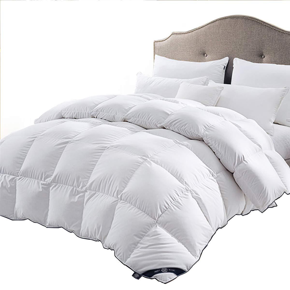 REST SYNC Full/Queen Size All Seasons Comforter Duvet Insert White with Corner Tabs - Luxury Hotel Collection Hypoallergenic Goose Down Alternative Comforter