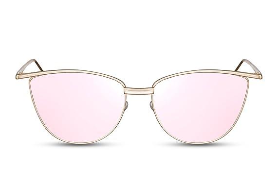 Lunettes de Soleil Cheapass Rondes Dorés-Rosés Reflétées UV-400 Lunettes Design de Premier Ordre Femme Femmes lNawv5Q0b