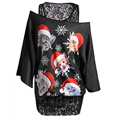 a022c60fa79 VECDY Fashion Women Blouse Plus Size Lace Twinset Christmas Cat Snowflake Print  T-Shirt Fashion Trend Wild Tops: Amazon.co.uk: Clothing