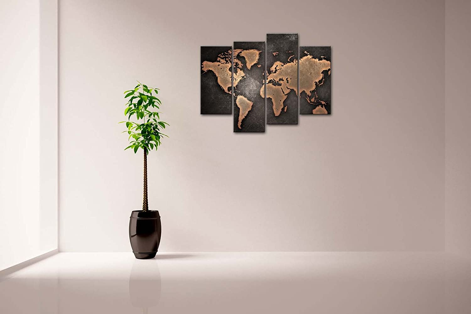 Amazon.com: Firstwallart General World Map Black Background Wall Art  Painting Pictures Print On Canvas Art The Picture For Home Modern Decoration:  Posters U0026 ...