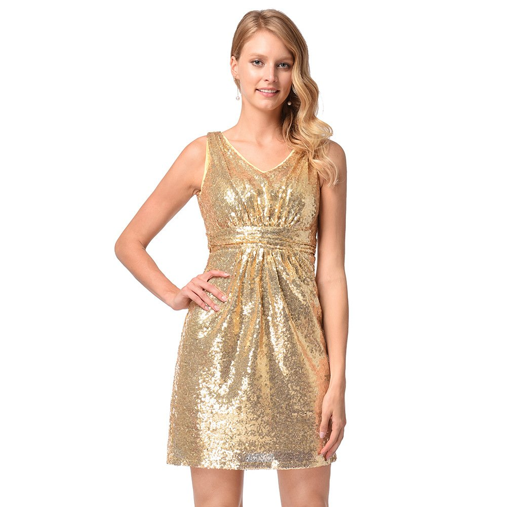 edc458a00ba Tanyanini V Neck Sleeveless Gold Sequin Party Dresses Above Knee Cocktail  Dress In Stock at Amazon Women s Clothing store