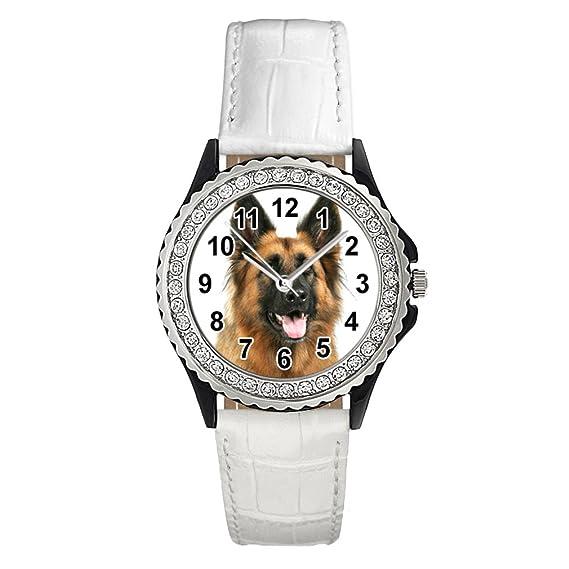 Timest - Pastor alemán - Reloj del Cuero para Mujer con Piedrecillas Analógico Cuarzo SGP0324 (