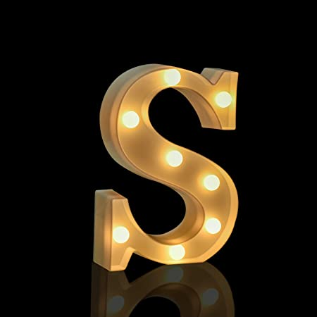 Fashlits LED Marquee Letter Lights Sign, Battery Powered Light Up Alphabet Letters for Bedroom Wedding Birthday Party Christmas Home Bar Decoration (S)