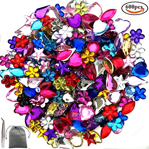 JPSOR 600 Pcs Gems Acrylic Flatback Rhinestones Gemstone Embellishments, 6 Shapes, 6-13mm, with Tweezers and Bag (Woven Jewel)