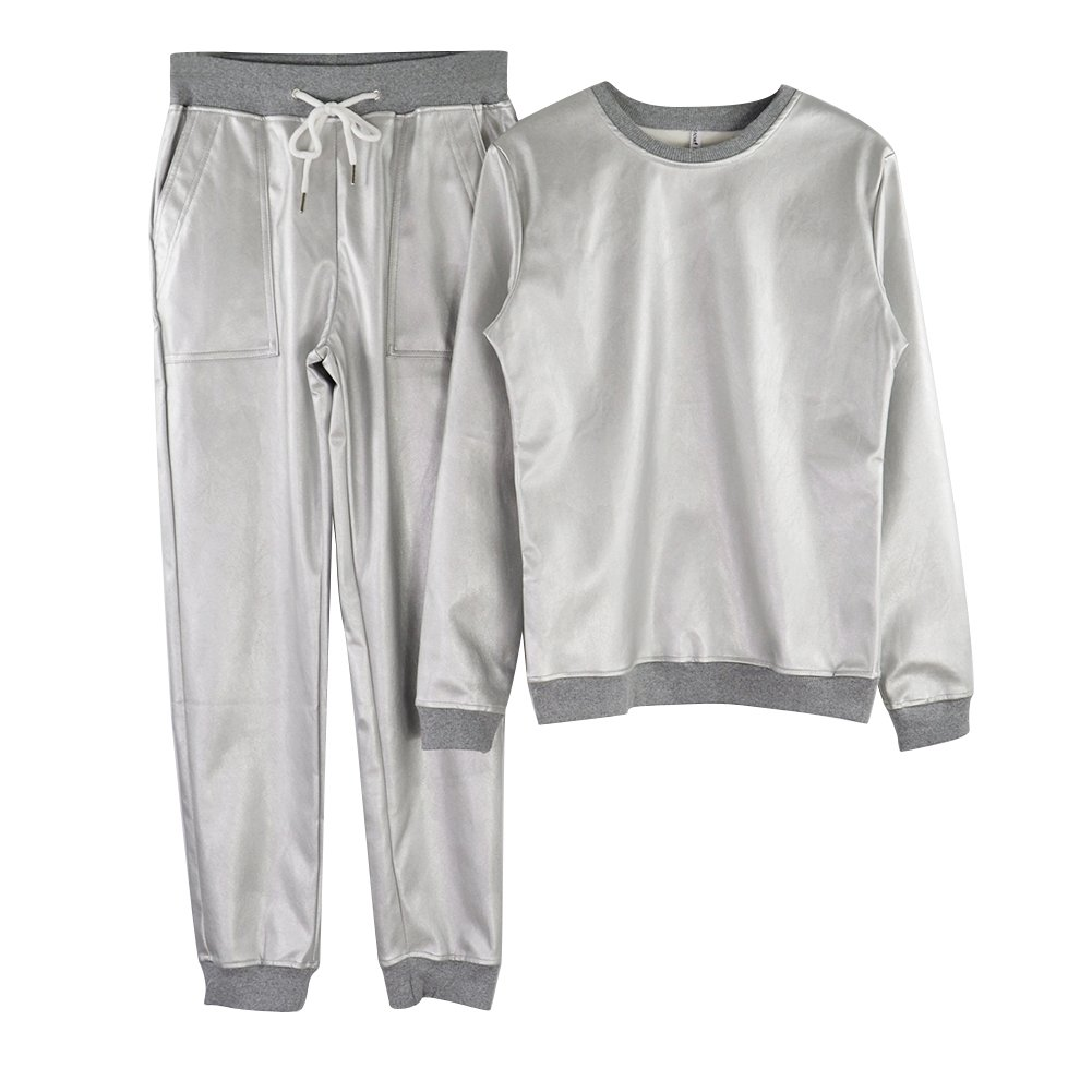 TAOVK Women's Silver Shiny Round Collar Sweatshirt and Lace-up Pants with Pocket Aerospace Tracksuits