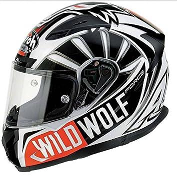 Casco integral Airoh T600 Wild Wolf, talla L, color blanco/negro y rojo
