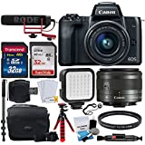 Canon EOS M50 Mirrorless Digital Camera with 15-45mm Lens Video Creator Kit (Black) + 32GB SDHC Memory Card Premium + Vivitar VIV-BTC-6 Bag + Monopod & Tripod + LED Video Light + 49mm UV Filter