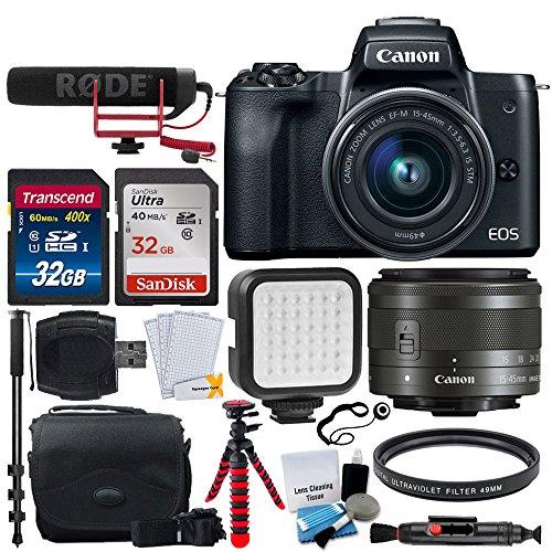 Canon EOS M50 Mirrorless Digital Camera with 15-45mm Lens Video Creator Kit (Black) + 32GB SDHC Memory Card Premium + Vivitar VIV-BTC-6 Bag + Monopod & Tripod + LED Video Light + 49mm UV Filter