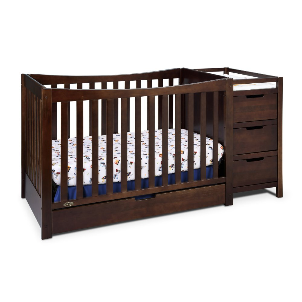 Graco Remi 4-in-1 Convertible Crib and Changer, Espresso, Easily Converts to Toddler Bed Day Bed or Full Bed, Three Position Adjustable Height Mattress, Some Assembly Required Mattress Not Included