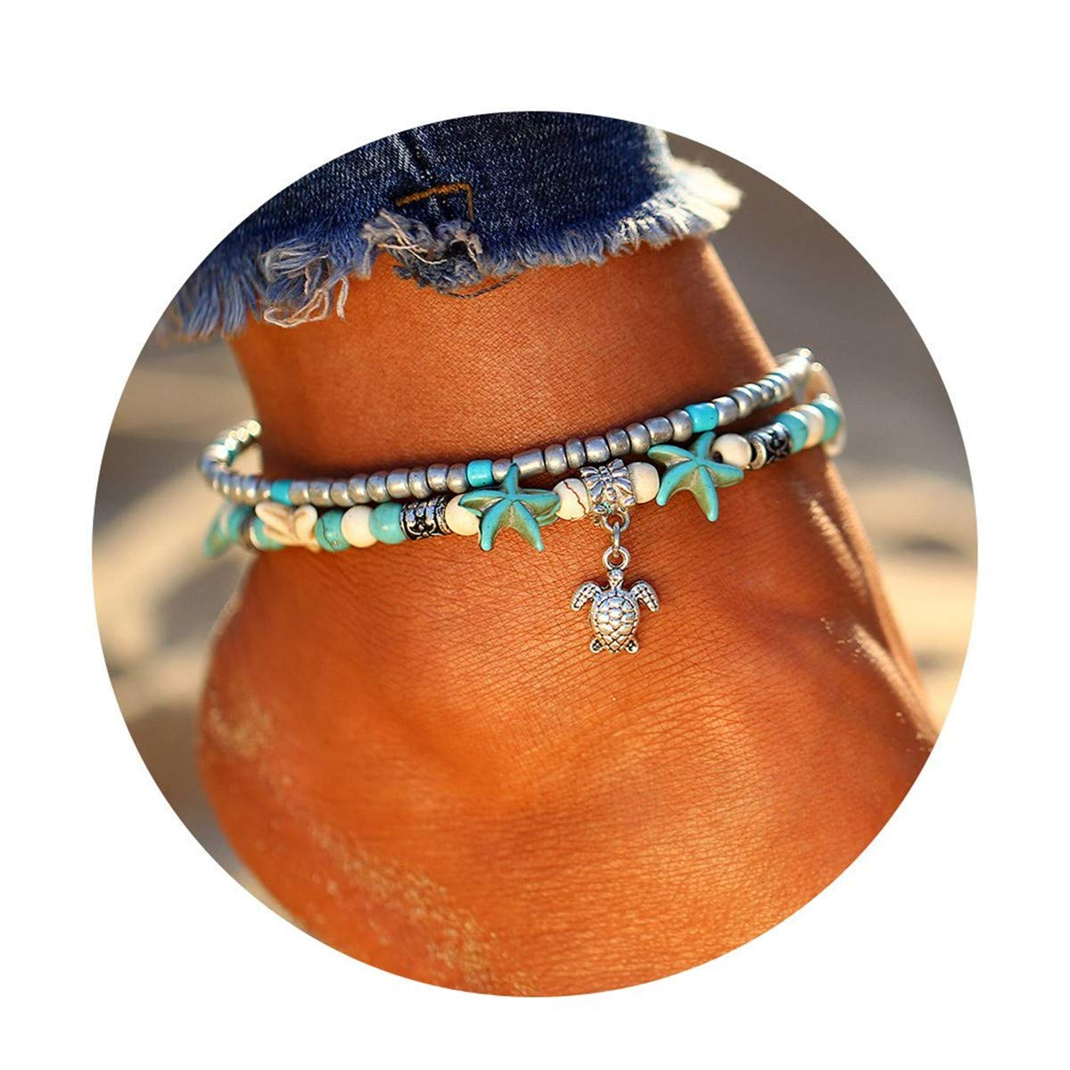 XYIYI Blue Starfish Turtle Anklet Multilayer Charm Beads Sea Handmade Boho Anklet Foot Jewelry for Women Girl