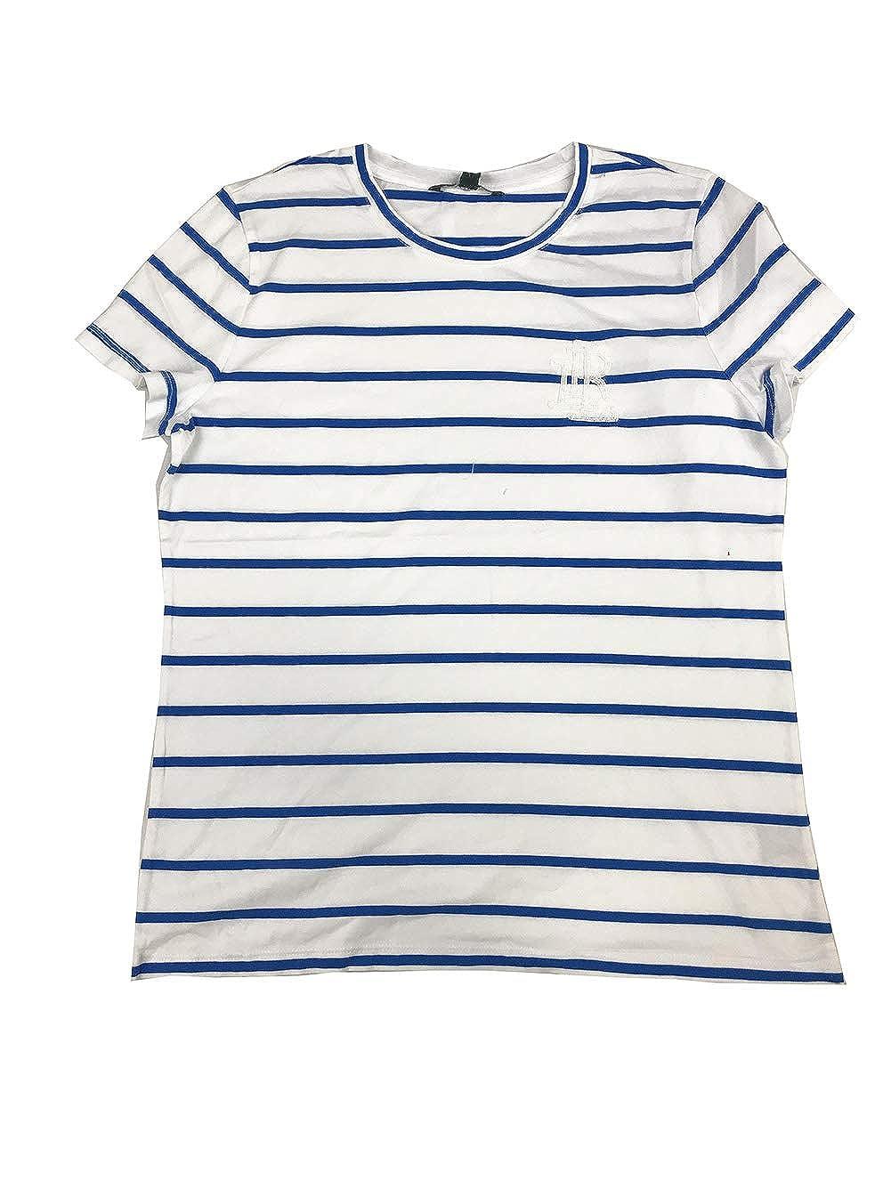 White Vivid Cyan Lauren Ralph Lauren Womens Casual Striped Logo TShirt