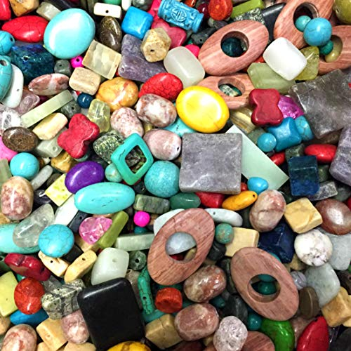 UnCommon Artistry Variety Mix of Gemstones/Semi-Precious Stones 4mm-40mm Focal Pieces, Drilled Beads for Jewelry Making (Small to XL) 125 grams ()