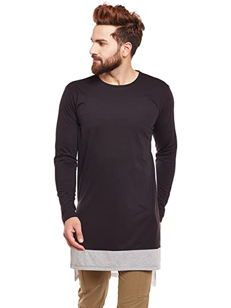 9863fcd709926 Chill Winston Contrast Super Long Line T-Shirt  Amazon.in  Clothing ...